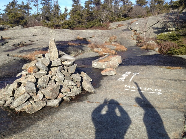 Cairns (and sometimes chalk) mark the trail to the summit