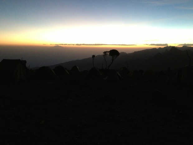 Sunset at Shira Camp with neighboring Mt. Meru peaking through.